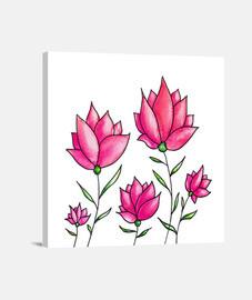 aquarelle florale fleurs roses