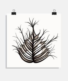 art botanique abstrait de feuille velue