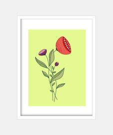 arte de línea abstracta de flores de pr