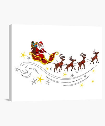 Immagini Babbo Natale Con Slitta.Stampa Su Tela Babbo Natale Con Slitta E Renne