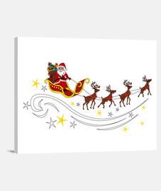 Babbo Natale con slitta e renne