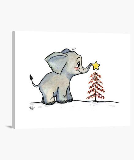 Lienzo Baby elephant christmas