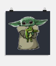 Baby Yoda con ranita ilustración