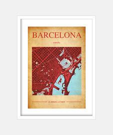 Barcelona Map - Cuadro con marco blanco vertical 3:4 (15 x 20 cm)