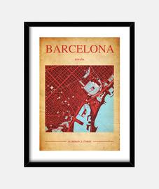 Barcelona Map - Cuadro con marco negro vertical 3:4 (15 x 20 cm)