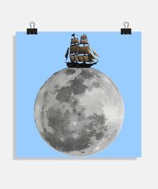 Barco navegando sobre la Luna