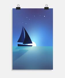 Barco velero navegando por el mar