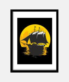 bateau à voile au clair de lune