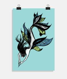 belle encre de sirene dessin bleu vert