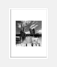 Bilbao - Cuadro con marco blanco vertical 3:4 (15 x 20 cm)