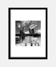 Bilbao - Cuadro con marco negro vertical 3:4 (15 x 20 cm)