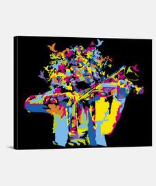 birds and violin canvas