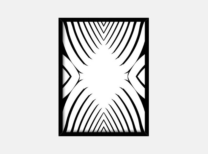 Blanco y Negro, diseño abstracto y moderno Cuadro con marco vertical ...