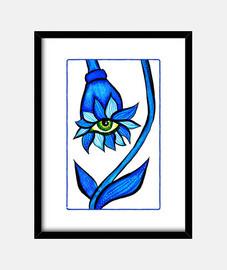 blu, fissando, creepy, fiore, occhio