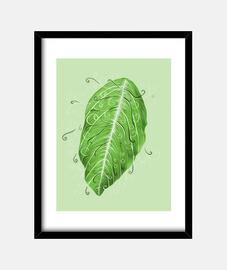 bonita botánico swirly hoja verde