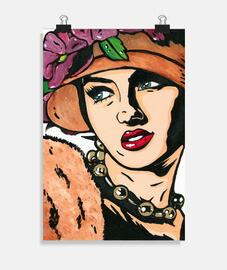 bonnet vintage fille fleurs pop art de cristina galvez