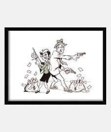 Bonnie & Clyde con marco