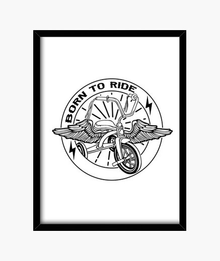 Born to ride black framed print