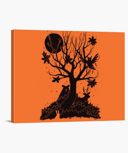 Lienzo bosque de otoño