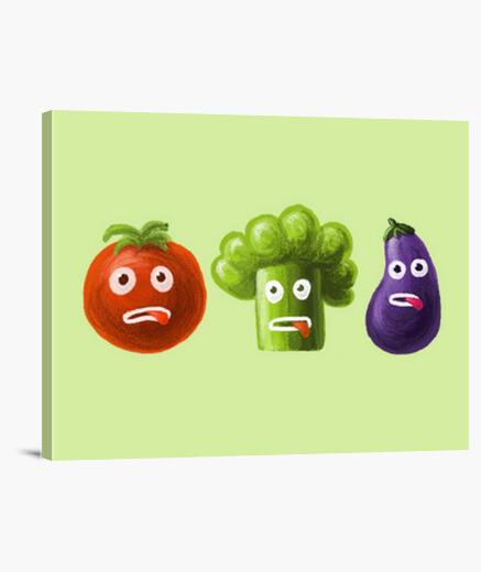 Lienzo brócoli tomate y berenjena divertida carto