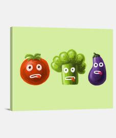 brócoli tomate y berenjena divertida carto