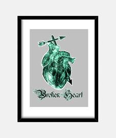 Broken Heart,Rosa de la muerte tatuaje Cuadro con marco  vertical