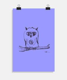 búho posado - cartel