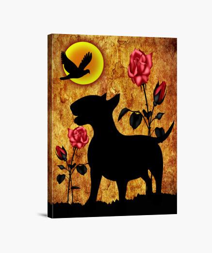 Lienzo bull terrier rosas vintage