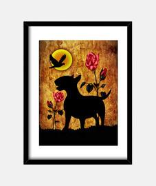 bull terrier vintage roses