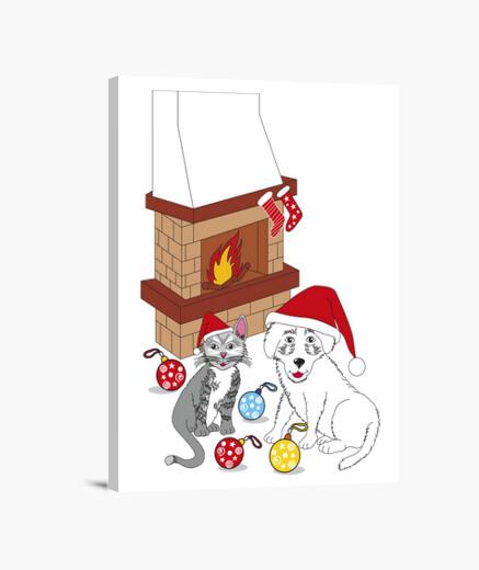 Lienzo Buon Natale cane e gatto