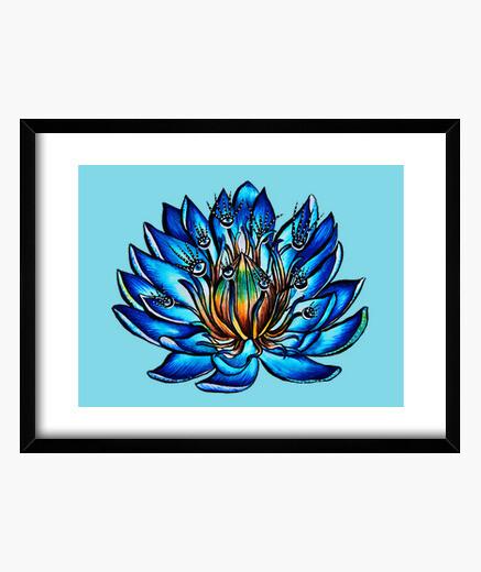 Cadre fleur de nénuphar bleu...