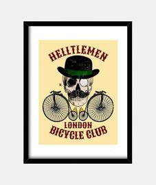 Calavera y bicicleta vintage color