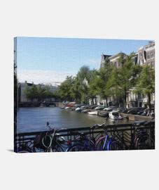 Canales de Amsterdam lienzo