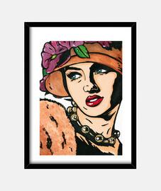 cappello da ragazza vintage fiori pop art di cristina galvez