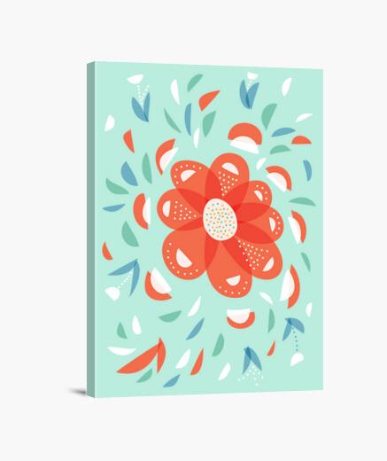 Lienzo caprichosa flor roja decorativa