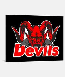 cara con cuernos de diablo detrás de los escritos