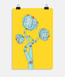 carte de circuit imprimé fleurs geek