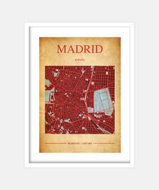carte de madrid - image avec cadre blanc vertical 3: 4 (15 x 20 cm)