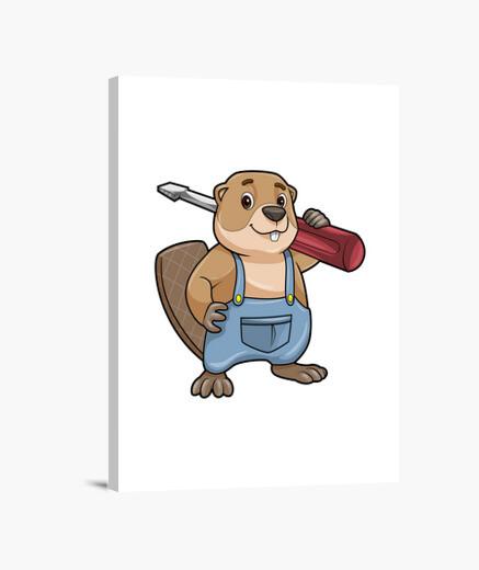 Lienzo castor como artesano con llave