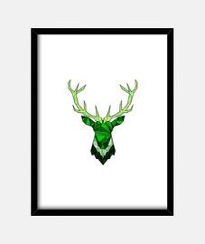 cerf hipster vert