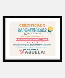 Certificado a la Mejor Abuela del Mundo (NOMBRE PERSONALIZADO) **LEER DESCRIPCIÓN**