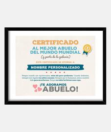 Certificado al Mejor Abuelo del Mundo (NOMBRE PERSONALIZADO) **LEER DESCRIPCIÓN**