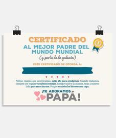 certificato per il miglior padre del mo