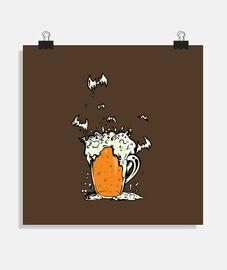cerveza de halloween y murciélagos de espuma