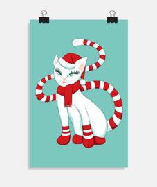chat blanc dans l39ambiance de Noël
