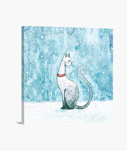 Tableau chat d'hiver
