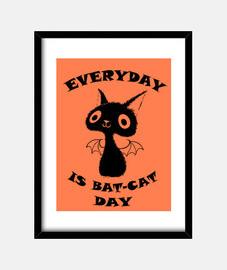 chat noir - peinture encadrée