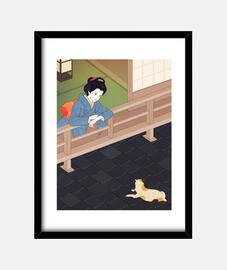 chat sur le toit de tuiles