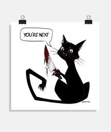 chat tueur noir posert