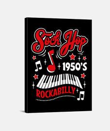 chaussette hop rockabilly des années 1950 rétro USA rock fifties impression sur toile